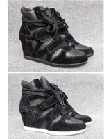 bea shoes - Ash Bea Bis Wedge Sneakers Black Suede Leather Genuine Leather Serpentine Fashion Trainers On Hot Sale Heels Tide Sport Shoes