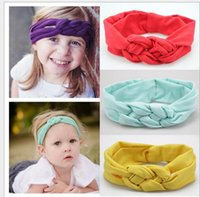 america hair weaves - Europe and America style baby hair ornaments Hair Band Princess Girls Solid Cross Weave Knot Knits Manual Hairbands Children Kids