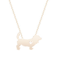 basset hound gifts - 10pcs New Basset Hound with heart Necklace Handmade Dog Jewelry Pendant Necklace for Women Teen Girl