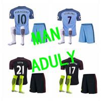 Wholesale 16 Best thai quality Camisetas manchesteers soccer Shirt survetement city de bruyne sterling silva maillot de foot
