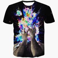 artistic breathable - Men Women Summer Casual tee shirts Artistic Bomb T Shirt Hipster D t shirt Galaxy t shirts Street Hip Hop tops tees