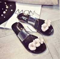 Wholesale New Summer Fashion Women Flower Crystal Jelly Sandals Flat Plastic Beach Shoes Lady Shoes Size Choose