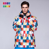 Wholesale GSOU SNOW colourful camouflage red white bright colored ski jackets men brands waterproof breathable windproof freeshipping