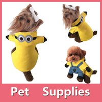apparel shoe - Warm small pet dog cat clothes apparel yellow minions pants hoodie coat costumes dog winter clothes