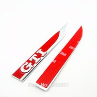 Wholesale Right Left Car Chrome Emblem Side Fender Red Decorative Stickers For VW Jetta Golf GTI MK7 G0 L