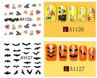 Wholesale HOT Halloween nail art stickers D skull water transfer Manicure sticker pumpkin nail decals tips wraps vinyl for hallowen party free dhl