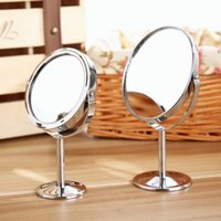 Wholesale Stainless Steel Holder Cosmetic Bathroom Double Sided Mirror Desk Makeup new arrival
