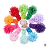 Headbands chiffion Solid 18colors Baby Chiffon flower hair band Kids solid color 4 inch 10cm Hair Accessories flower with soft Elastic crochet headbands stretchy