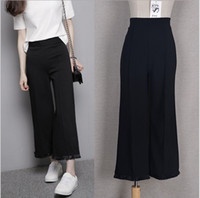 Cheap Womens Career Wide Leg Cotton blened Pants with Tassel OL Loose Casual Black Slim High Waist Flare Vintage Palazzo Trousers S-L P25