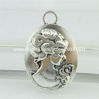antique hair slides - 16297 Antique Silver Vintage oval Woman With Flower Hair Up Bun Curls Pendant