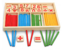 Wholesale 1Set Math Counting Toy Baby Toys Wooden Blocks Montessori Education Learning Toys Mathematical Intelligence Stick Building Blocks Kids Gift