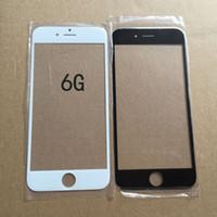 al por mayor iphone 4s pantalla de vidrio de reemplazo-Cubierta de cristal delantera blanca negra original de la cubierta del teléfono celular de la substitución de la pantalla táctil para el iphone 5c 4S 4G 5S 5G 6S 6S + 6 6+ MÁS mini 100pcs