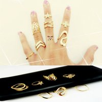 Wholesale Punk style Midi ring sets Gold plated Knuckle Ring for women Finger ring Fashion accessories jewelry