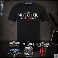 al por mayor juegos nuevos diseñadores de moda-Venta al por mayor-The Witcher 3 Wild Hunt JUEGO 2016 nuevo diseñador de marca de fitness t-shirt hombre de moda hombre T-shirts