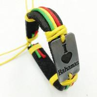 bahamas flags - Bob Marley bracelet I Love Bahamas bracelets Stripe wrist Band Friendship Bracelet Wrist Bracelet pc