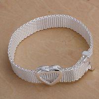 bangle watch sterling - H011 Xmas fine sterling silver bracelet bangle jewelry hot new Popular fine silver jewelry Web Watch band Link Bracelet