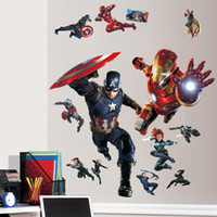 Wholesale Avengers Wall Stickers Decorative Wall Decal Superheroes Wallpaper Kids Party Decoration Captain America Ironman Wall Art Civil War Poster