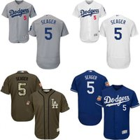 authentic dodgers jersey - Grey green white blue Corey Seager Authentic Jersey Men s Los Angeles Dodgers Flexbase Collection