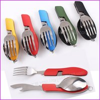Wholesale Portable in Stainless Steel Folding Spoon Fork Knife Bottle Opener Tableware for Outdoor Camping Picnic Travel