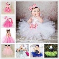achat en gros de filles de halloween costume rose-White Girls Tutu Robes pour baptême Costume d'Halloween Costume d'Halloween Baby Girl avec bandeau de fleurs PinK Tutu Robes de bébé