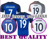 Wholesale Top Thai quality Euro France Home Soccer Jersey blue maillot foot GRIEZMANN POGBA MARTIAL Giroud Away Football shirt