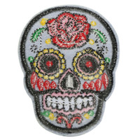 Wholesale Hot DIY Flower Skull Head Embroidered Iron On Sew On Patch Applique Punk Fashion