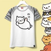 Cheap Girls Cute Cartoon Neko Atsume Cosplay Costume Summer Tees T-Shirts Tshirt Cotton Short Sleeve Tops Free Shipping