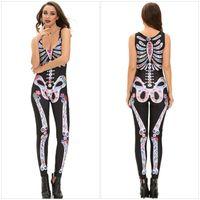 Wholesale Cheapest Bodysuit Costumes - New Halloween Skull Full-Length Jumpsuit For Women Cheap Sleeveless Round Neck Spandex Bodysuit Costumes Tight Skeleton Romper 8854