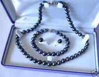 akoya pearl beads - 2016 Mini Order mm Black Akoya Cultured Pearl Necklace Bracelet Earring Set Pearl Beads Fashion Jewelry Set Natural Stone