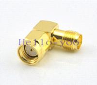 Wholesale pc RP SMA Plug female Pin to SMA Jack female Right angle coax Connector SMA RA Golaplated Adapter