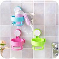 Wholesale new bathroom accessories wall mounted plastic bathroom shelf suction hair dryer rack bathroom storage organizer holder