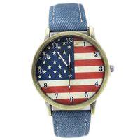 acrylic fabric - Cowboy Style Fashion Women Watch American Flag Watch Fabric and Leather Dress Watch Wristwatch Women Casual Watch
