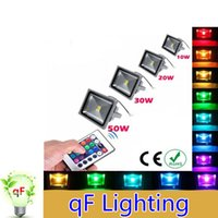 Wholesale DHL FedEx free Waterproof IP65 w w W W LED Flood Light RGB Outdoor Lamp LED Floodlights Remote Control Lighting bulbs