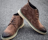 Ankle Boots add khaki - 2016 new men Genuine Leather Martin Boots Lace Up High help leisure Add wool Work boots