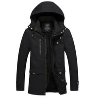 Cheap Fall-Newest Men's Winter Warm Jacket Solid Overcoat Hooded Length Sleeve Water washing Outwear Clothes male Parkas Fashion Top 120hfx
