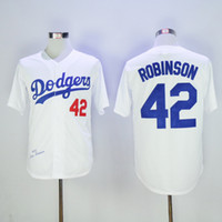 Wholesale Brooklyn Dodger Jackie Robinson White Baseball Jerseys Champions Home Jersey White Men s Vintage Baseball Wears New Baseball Wears