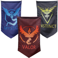 Wholesale 96X64cm Poke Go Team Valor Mystic Instinct Flag Moltres Articuno Zapdos Printing Banner For Halloween Cosplay Party Accessories