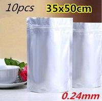 10pcs los 35x50cm Mylar se levantan el bolso de embalaje puro de la hoja de aluminio para el café del alimento Almacenaje a largo plazo La bolsa resellable de Ziplock