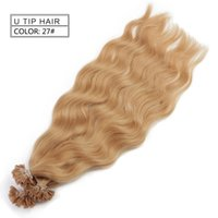 Wholesale Cheap Keratin - Cheap Neitsi 20inch 27# Natural Wave Nails Hair 1g pc 50pcs lot U Tip Hair Extensions U Tip Hair Keratin Stick Pre-bonded Hair Bundles