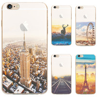 Wholesale TPU Soft Transparent Cases Landscape Eiffel Tower Ferris Whee Protectionl Covers For Apple iphone s Plus Phone Case Cover DHL Free