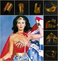 Wholesale Wonder Woman Tiara Gold Superhero Crown Cosplay Halloween Metal Costume Accessory Headwear and Wrist One Pair