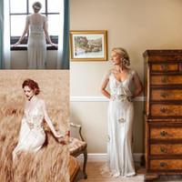 Wholesale Jenny Packhem Vintage Sheath Wedding Dresses Short Sleeves V Neck Beading Crystals Custom Made Boho Bridal Gowns For Garden Outdoor
