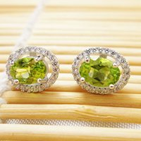 Wholesale Classic olivine stud earrings for woman genuine olivine stone solid streling silver earrings fashion silver jewelry