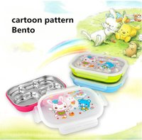 Wholesale cartoon pattern Bento box heat preservation mess tin lunch box without Chopsticks spoon hot selling F T