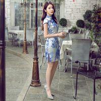 Wholesale chinese style cheongsam dress restore ancient ways embroidery restore ancient ways