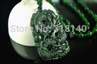 China-Tibet carved jade necklaces - Natural Green Hand carved Chinese Hetian Jade Pendant Dragon Free Necklace