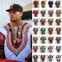 Wholesale african Women Men African Clothes Hippie Shirt Caftan Vintage Unisex Tribal Mexican Top Bazin Riche Ethnic Clothing