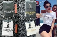 Wholesale 2016 NEW Womens Girls Balmain Cotton T Shirt With Gold Letter BALMAIN PARIS Printed XS XXL