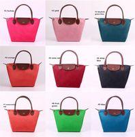 Wholesale 15 Colors Foldable Waterproof Nylon Shopping Bags Long Handle Tote Reuseful Gift Bags Small