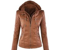 Wholesale European and American fashion new long sleeved jacket with a solid color fur collar zip PU leather jacket female